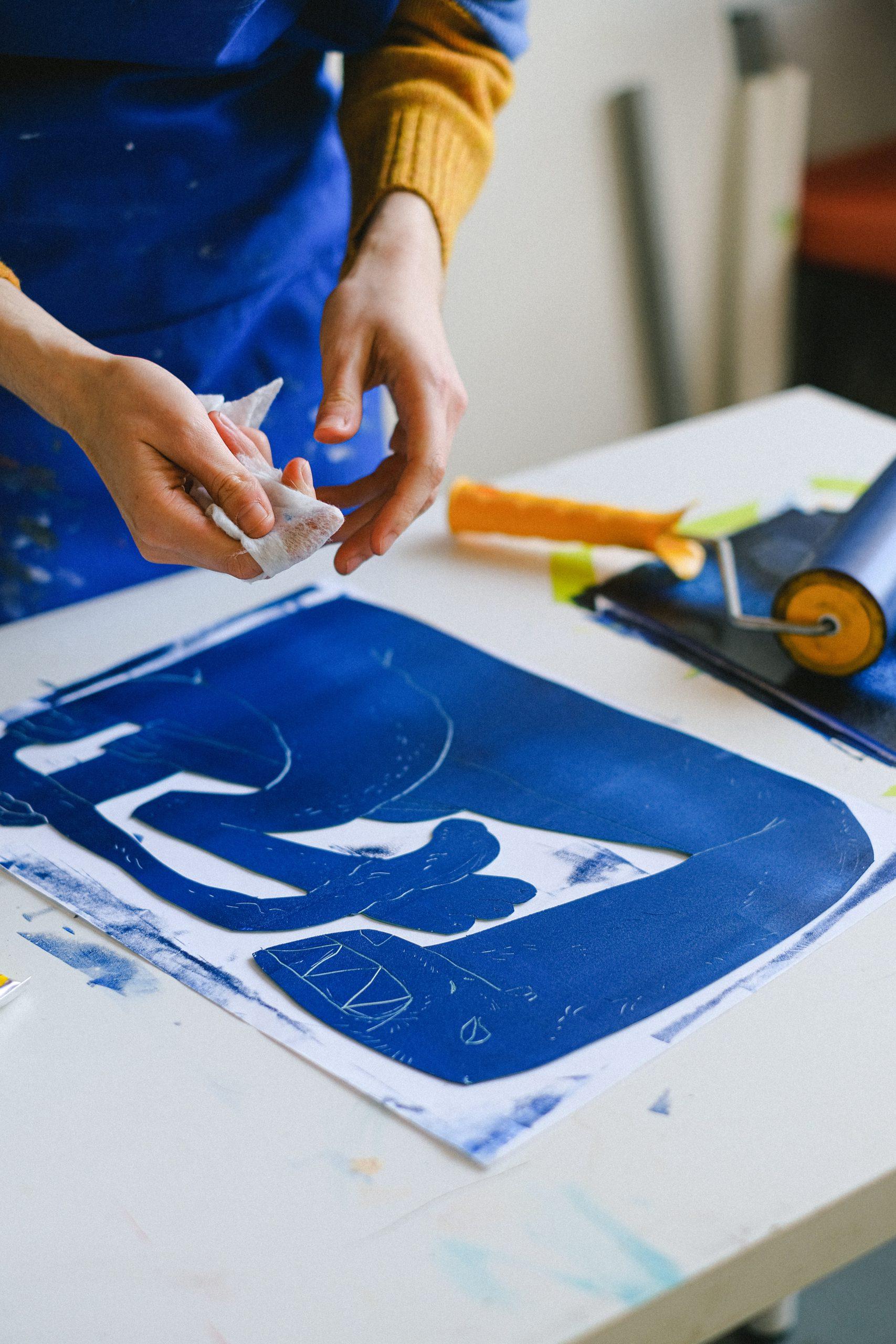 carré de gravure bleu majorelle