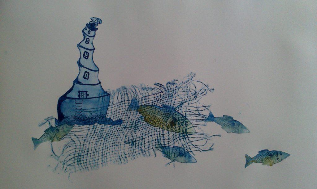 scène de mer phare et poissons dans les tons bleus